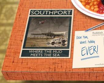 Southport: Where The Mud Meets The Sea - A6 Rubbish Seaside Postcard