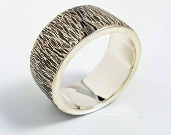 Tree Bark Ring Wedding Band Mens Rustic
