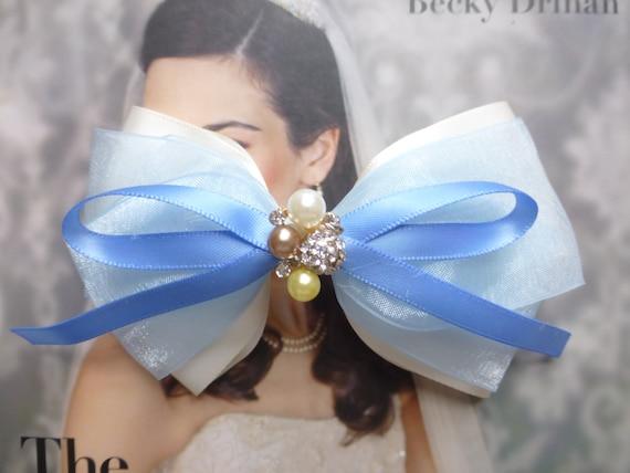 Beautiful Blue and White Satin, Chiffon Hair Bows Hair Accessories Hair Clip Hair Pins Hair Stick