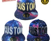 Customize Acrylic Letters Hat, Galaxy Blue Hat With Customize Letters