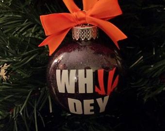 WHO DEY Bengals Ornament, Ohio Ornament, Cincinnati Bengals Christmas Ornament, Who Dey Ohio Ornament, Secret Santa, Christmas Ornament