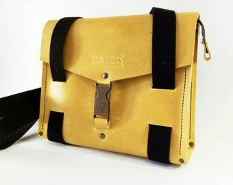 Yellow messenger leather bag, yellow purse, handmade bag, men's bag, casual bag, designer bag, every day bag, work bag, funny bag