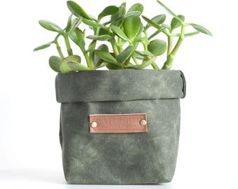 waxed canvas cotton fabric storage planter bin box