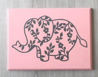 Elephant Nursery Decor / Elephant Sign / Elephant Nursery Sign / Elephant Decor / Baby Girl Elephant / Pink Elephant / Elephant Gift