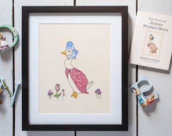 Beatrix potter style framed design  Can be Personalised. machine embroidery. Bespoke gift. Present for moving house, new baby, birthday, etc