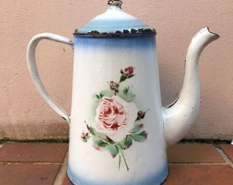 RARE Vintage French Enamelware white blue rose flowers Enamel Coffee Pot