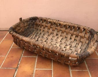 Basket ratan wicker Handle market Basket Farm House vintage french 04051716