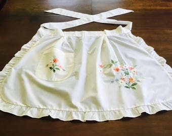 Hand embroidered vintage apron