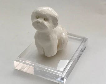 Handmade Bichon Frise Dog Sitting Sculpture by Bebe Booth