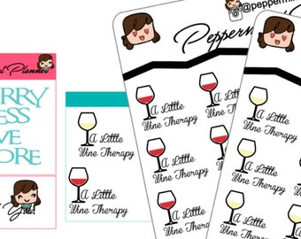 A little Wine Therapy planner Stickers, Planner Stickers, Stickers,{#128}