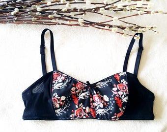 Black Organic Cotton Floral Print Bralette, Rose Print Lingerie, Black Organic Lingerie, Gift for Her, Sizes XS-XL