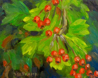 oil painting // still life of leaves and red berries // artistic work of art // hand-painted impressionism contemporary art