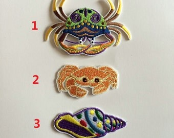 Artificial Adult Sea Crab Costume Conch Patches,Fabric Embroidery Clothes Patch,Sew On,Iron-on Patch,Applique For Biker,Jacket