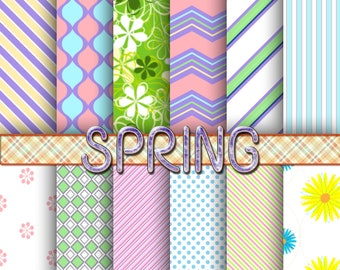 Spring digital paper, spring scrapbook paper, spring background