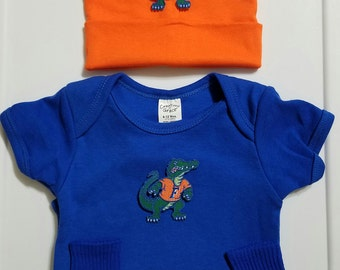 baby boy University of florida outfit with hat-florida gator creeper-florida gators for baby boy-baby boy fl gators-gators roomper-