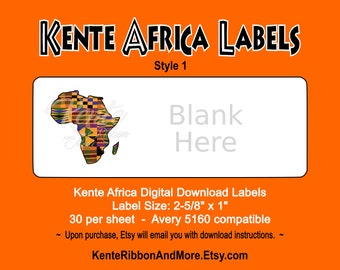 "DIY - Printable Kente Africa Return Label Template - 30 on 8.5""x11"" - Avery 5160 Compatible - Digital Download Immediately Available"