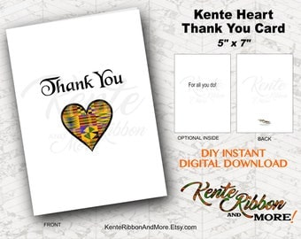 "DIY - Printable Thank You Kente Heart 5""x7"" Card -  No Envelope Included - Print on 8.5x11 and trim - Download JPG and PNG Files"