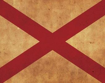 Vintage Alabama Flag on Canvas, Alabama, Flag, Wall Art, Alabama Photo, Print, Giclee, Fine Art, Southern Flag, Single or Multiple Panels