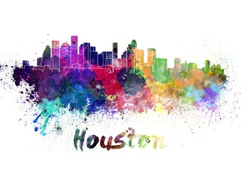 Houston skyline watercolor canvas, Houston Canvas Print, Houston wall art, Houston Canvas Art, Watercolor Skyline, Gift Ideas, Houston print