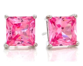 Pink Princess Earrings, Princess Pink Earrings, Pink Earrings, 925 Silver, Princess Silver Pink Earring, Princess, Pink Square Gem, Pink Gem