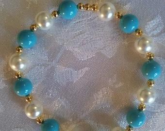 Swarovski Pearl Stretch Bracelet Turquoise Blue White Gold December Birthday Gift
