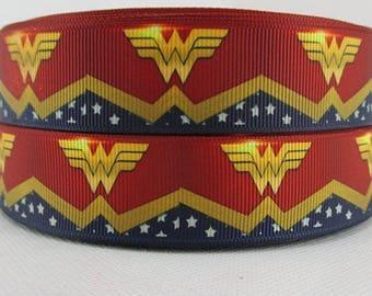 """Wonder Women Grosgrain 1"""" Printed Ribbon, Super Hero Ribbon"""