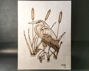 Heron Wood Burned Wall Art