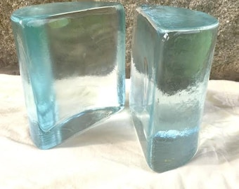 Signed Blenko Glass Bookends Half Moon Set of Two, 1960's /Vintage Hand-Crafted Half Circle Clear Glass Block Bookends- Mid Century Modern
