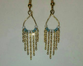 Delicate, Gold Fringe, Chandelier Earrings with Sky Blue and White Seed Beads
