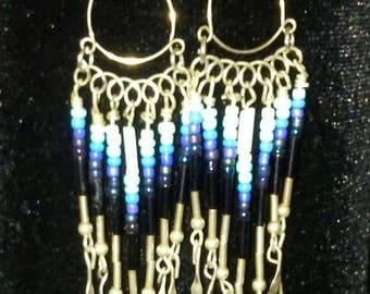 Sterling and Ombre White-Aqua-Black, Seed Bead, Chandelier Earrings.