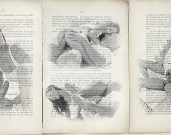 Erotic nude girls mens love print poster  antique books set 3 pages decor interior picture ART erotic