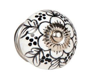 Ceramic Cabinet Knob with a Black Pattern