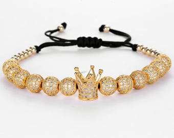 Gold Plated Crown Luxury Macrame Bracelet for Men | BraceletsDR
