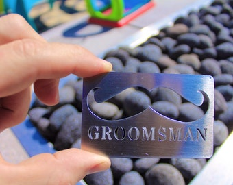 Stainless Steel GroomsMan Card bottle opener