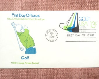 Golf First Day Issue US Postage Stamped Envelope FDC 1977 Augusta GA