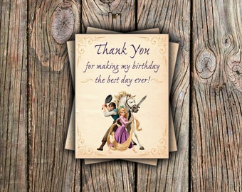 Disney Tangled Thank You Card - Instant Download