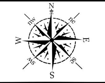 Compass, Craft Stencil, 190 Micron, Various Sizes, Reusable, Laser Cut, Fabrics, Furniture, Wood, Walls, Floors, Card, Scrapbooking