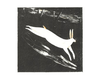 Witch as hare, hare as witch lithograph print (limited run)