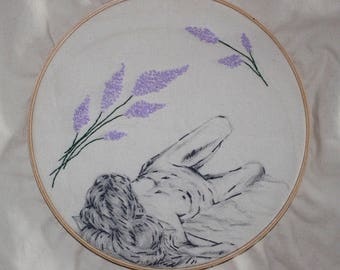 "Hand Embroidered Woman with Lilacs in a 10"" Hoop"