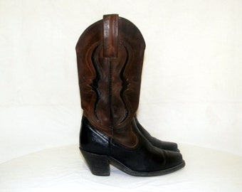 Frye Boots-Vintage boots-Women Sz 5b-Western cowboy boots-Leather boots-brown and black-two tone boots-1980s.