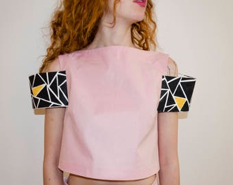 Designer crop top with small sleeves