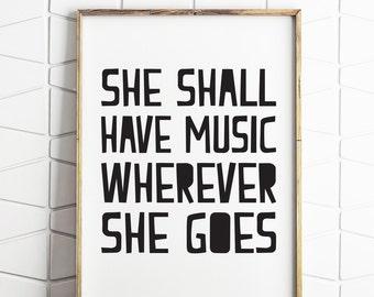 music printable, music quote, music wall art, music wall decor, black and white, nordic decor, nordic printable