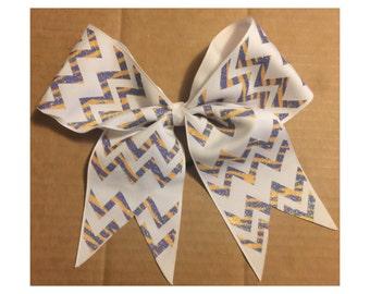 Royal Blue & Gold chevron print cheer bow