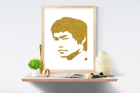 Bruce Lee, Gold, Gold Print, Gold Prints, White Print, White Prints, Wall Art, Art Print, Printable Art, Wall Prints, Modern Art