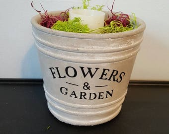 """Tall """"Flowers and Garden"""" Planter with LED Candle"""