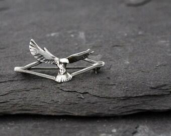 Vintage Sterling Silver Eagle or Osprey Brooch Hallmarked for Birmingham 1984