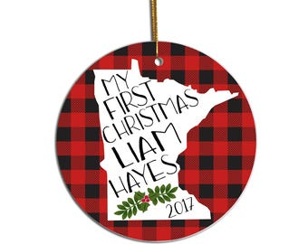 Baby's First Christmas Ornament, Baby Ornament, First Christmas Ornament, 1st Christmas, Buffalo Plaid, Home State Ornament, Custom Ornament