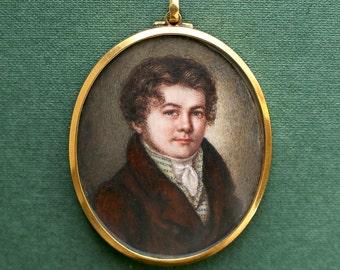 Georgian Jewelry - 1810s Antique Miniature Portrait Pendant Regency Era Gentleman 15k Gold, Antique Jewelry, Jane Austen, Antique Necklace