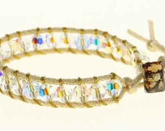Handmade Single Wrap Swarovski crystal Bracelet on Mokuba cord Chan Luu style
