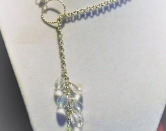 Silver Lariat Necklace with Sawrovski crystals